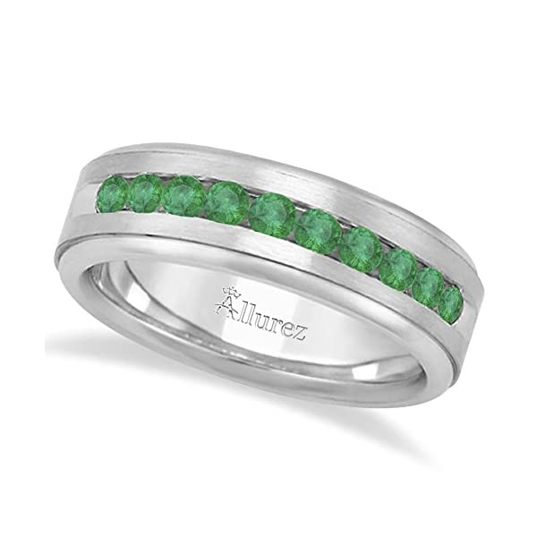 18k-Gold-Channel-Set-Mens-Round-Cut-Emerald-Gemstone-Wedding-Band-Grooms-Ring-in