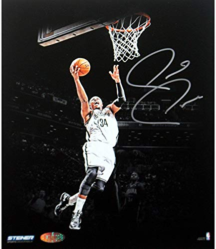 (Paul Pierce Signed Brooklyn Nets Jumping Toward Basket Dark Background 8x10 Photo - Steiner Sports)