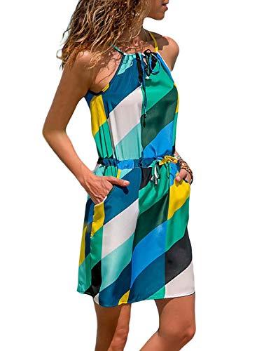 Alaster Queen Women's Floral Print Sleeveless Tank Mini Dress Casual Sundress with Pocket Blue Block