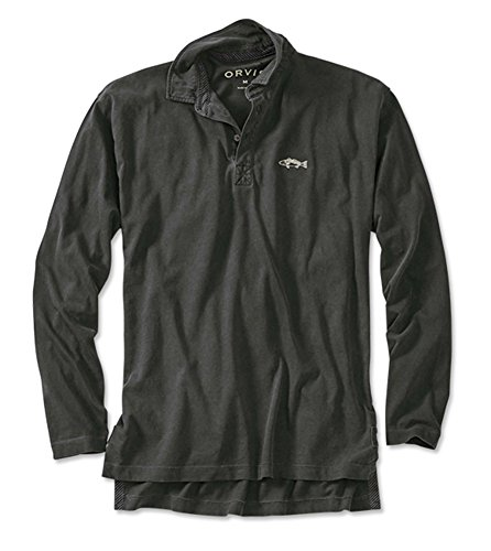 Orvis Men's Long-Sleeved Fish Polo, Dark Charcoal, Large