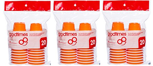 Goodtimes 2oz Mini Party Cups (3 packs of 20 cups) Perfect Size For Liquor Shots, Jello Shots, Halloween Parties, Serving Condiments And Kids Love Them Too! (Orange) ()