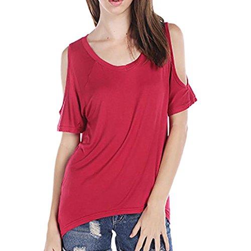 RETUROM Mujeres atractivas del verano V-cuello del hombro de la camiseta de manga corta ocasional del estiramiento de la camiseta sólida Tops Rojo