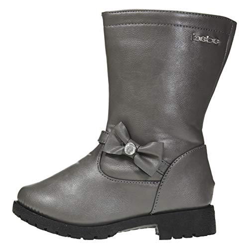 bebe Toddler Girls Riding Boots Size 7 Side Bow Slip-On Low-Heel Fashion PU Shoes Grey