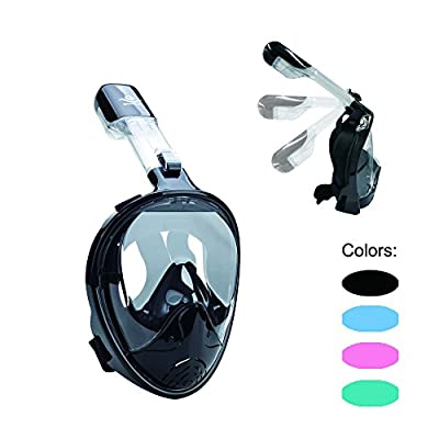 Full Face Snorkel Mask 180° Panoramic View Snorkeling Diving Mask Goggle Anti-Leak Anti-Fog Easy Breathing with Adjustable Head Straps for Adults Youth Kids