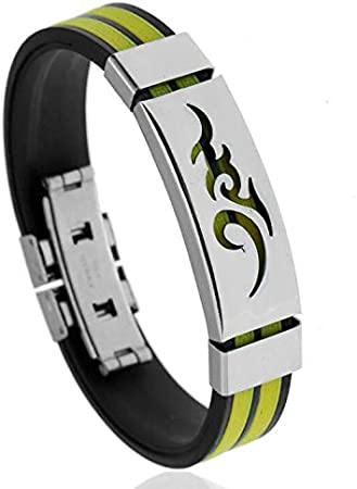 LINSUNG Men Personnalit/é personnelleFlamePatternBracelet Wristband CloudFlameTotem Flamesiliconebracelet SiliconeRopeSteelBracelet Fashion SiliconeAlloyBracelet for TitaniumSteelFlameBangle White