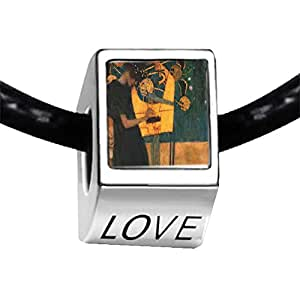 Chicforest Silver Plated Musique Painting Photo LOVE Charm Beads Fit Pandora Chamilia Biagi Charm Bracelet