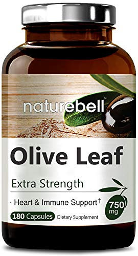 NatureBell Olive Leaf Extract 750mg, 180 Capsules, Active Polyphenols and Oleuropei, Supports Immune and Cardiovascular Health, Non-GMO, Made in USA