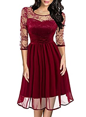 Women's Retro 1950s Floral Lace Stretchs 3/4 Sleeve Cocktail Party Casual Swing Dress 581