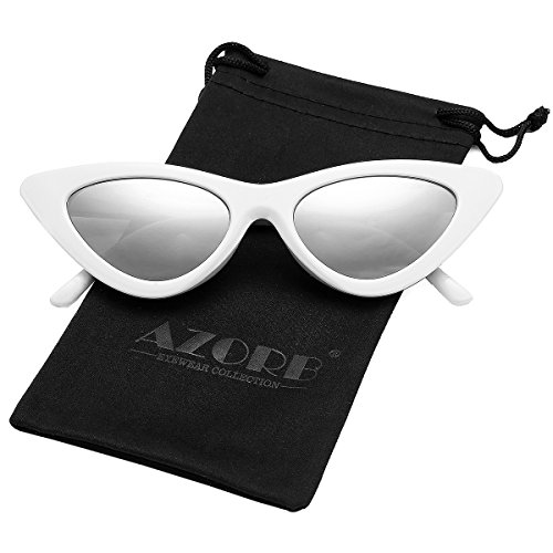 AZORB Women's Vintage Inspired Fashion Cat Eye Sunglasses Plastic Frame Colored Lens (White/Silver Mirrored)