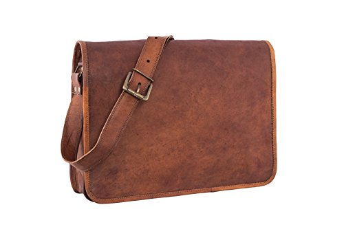 Leather Full Flap Messenger Handmade Bag Laptop Bag Satchel Bag Padded Messenger Bag School Bag Brown ()