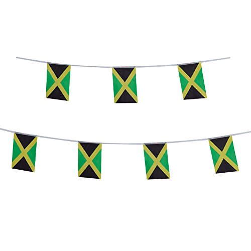 Jamaica Flag,TSMD 100 Feet Jamaican Flag National Country World Pennant Flags Banners String,Internationl Party Decorations For Grand Opening,Olympics,Bar,School Sports Events,Festival Celebration