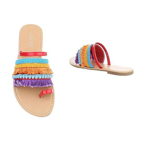 Ital-Design Zapatos Para Mujer Sandalias de Vestir Tacón Ancho Sandalias de Dedo Rojo Multi