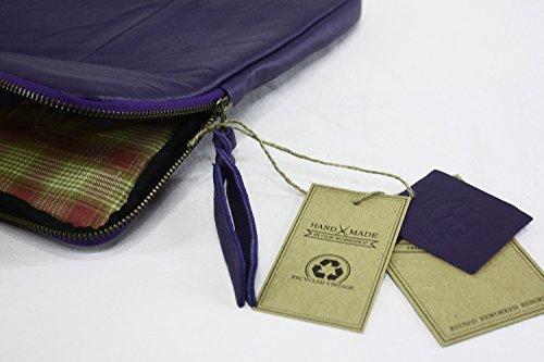 Aloha-Beachwear Designer Vintage 15 Handmade Notebook Tasche Notebooktasche Leder / 15 Zoll Laptop-Tasche Sleeve Hülle Schutzhülle, Violett E1005
