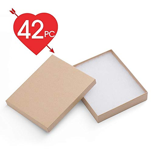 MESHA 42 Pcs Jewelry Boxes 6x5x1 Inches Kraft Brown Square Cardboard Boxes Bracelet Boxes with Cotton Filled
