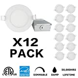 INCARLED 4inch 9W Dimmable LED Recessed Slim Downlight with Junction Box (12pack) (Warm White/3000K)