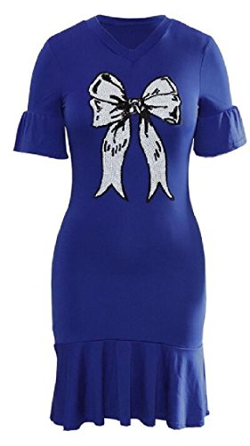 Dress s Short Midi Print Bowknot Sleeve Blue Jaycargogo Sequin Ruffle Hem Women Bodycon PXq5Hxw
