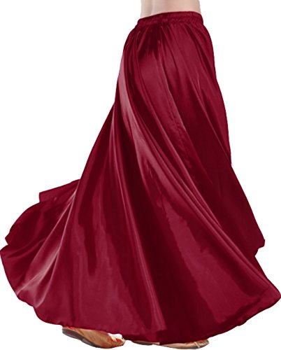 Astage Belly Dance Satin Full Circular Long Skirt, Hot Dance Costume Winered (Full House Costumes)