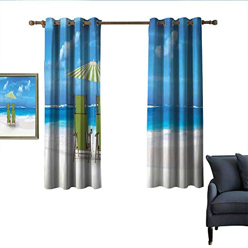 longbuyer Seaside Sliding Curtains Sunshade Drinks Pair of Reclining Chairs Facing to Ocean Seascape Blackout 55