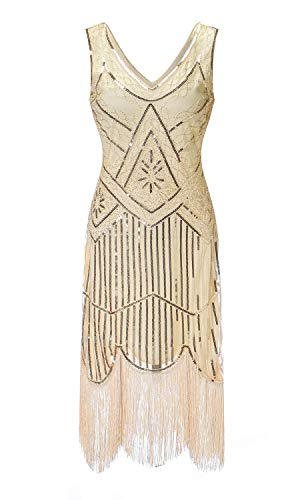 Sexy Fringed Flapper Dress - S-3xl Women's 1920s Gatsby Cocktail Sequin Beaded V-Neck Fringed Tassels Hem Flapper Dress (XL, Beige)