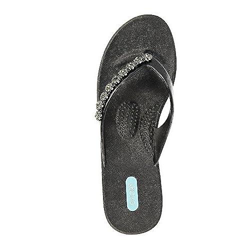 d3c7810180cc91 on sale Lillia Flip Flop Wedge Sandal Shoes by OkaB Color Licorice ...