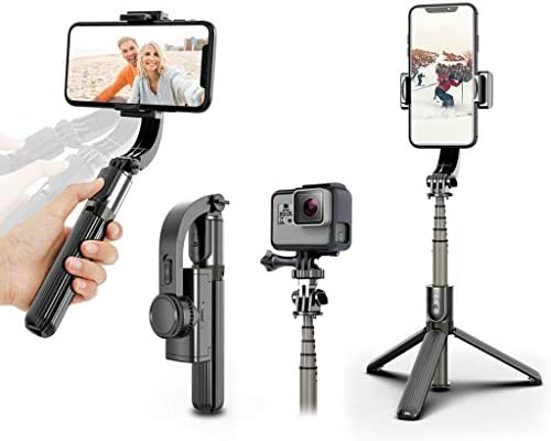 1-Axis Multifunction Remote 360/°Automatic Rotation Auto Balance iPhone//Android Obudyard Gimbal Stabilizer for Smartphone with Extendable Bluetooth Selfie Stick and Tripod