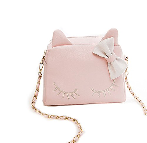New Womens Bag (Women Bag,New Design Fashion Girls Cute PU Leather Cat Messenger Tote Shoulder Bag (Pink))