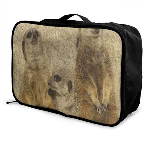 - Travel Bags Vintage Animal Meerkat Portable Duffel Amazing Trolley Handle Luggage Bag