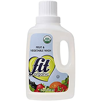Fit Organic 32 Oz Soaker Produce Wash, Fruit and Vegetable Wash and Pesticide/Wax Remover, Pack of 3 Bottles