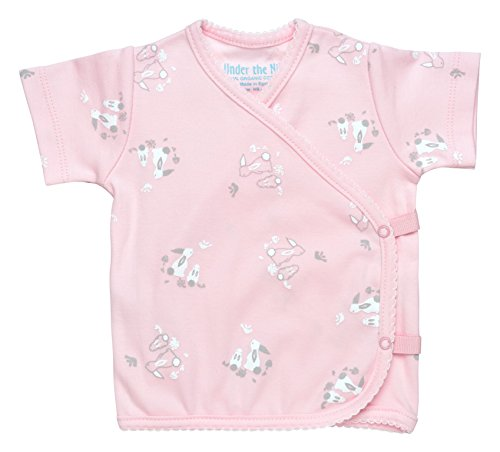 Girl Side-Snap T-Shirt Size 0-3M Pink Bunny Print Organic Cotton ()