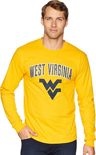 Champion College Men's West Virginia Mountaineers Long Sleeve Jersey Tee Champion Gold Medium