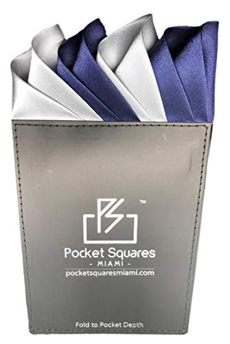 Pocket Squares Miami, Prefolded Pocket Square, Capri Collection (Gray/Navy)