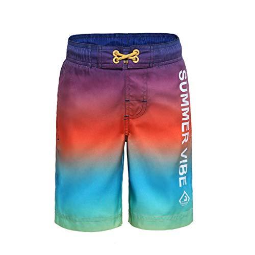 Rokka&Rolla Boys' Quick Dry Drawstring Waist Swim Trunks Board Shorts with Mesh Lining (M (8-9), Color ()