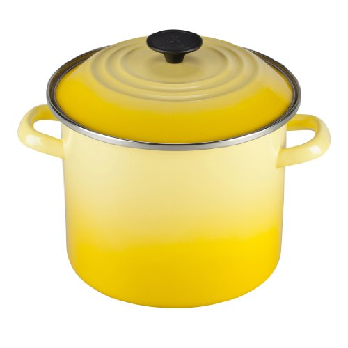 Le Creuset Enamel-on-Steel 8-Quart Covered Stockpot, Soleil (Enamel Yellow Finish)