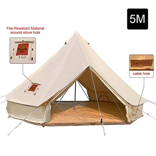 UNSTRENGH Large Beige Luxury 4-Season Camping Cotton Canvas Bell Tent Double Doors Camping Hunting Tent with Stove Jack Hole, Cable Hole …