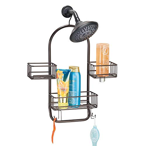 mDesign Modern Metal Wire Bathroom Tub & Shower Caddy, Hanging Storage Organizer Center – 2 Wash Cloth/Razor Hooks, 3 Baskets – for Bathroom Shower Stalls, Bathtubs – Rust Resistant – Bronze