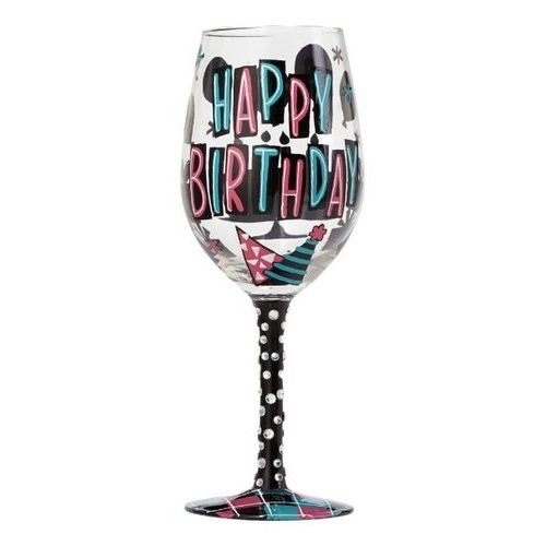 """Designs by Lolita """"Happy Day"""" Hand-painted Artisan Wine Glass for Birthday, 15 oz."""
