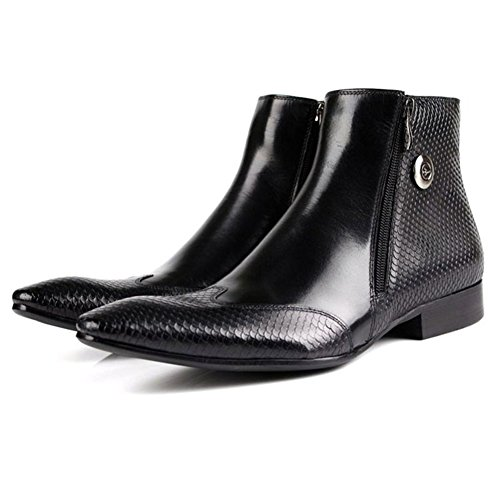 Santimon-Mens Genuine Leather Handsewn High-top Ankle Boots Business Shoes Black 4pIT6OI