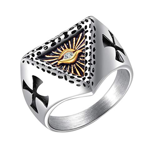 ALEXTINA Mens Stainless Steel All Seeing Eye of God Signet Ring with CZ Stone Double Carved Cross