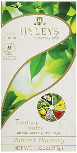 12 Pack of Hyleys Nature's Harmony Collection Tea with 7 Natural Tastes - 25 Tea Bags (GMO Free, Gluten Free, Dairy Free, Sugar Free and 100% Natural)
