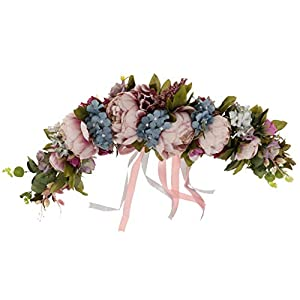 Fityle Peony Artificial Flowers Garland Lintel Wall Decorative Flower Door Wreath 51