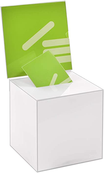 Kit Box Votaciones/200 x 200 x 200 mm con pizarra 210 x 210 mm, de acrílico/blickdichtem opaco/Dona Caja/ranura Caja/sorteo parte Caja/urna/acrílico/Opal/lechoso/opaco/vidrio opalino – zeigis®: Amazon.es: Oficina y papelería