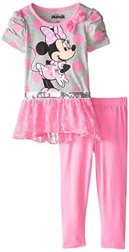 887847655811 - Disney Girls' Minnie Mouse 2-Piece Legging Set, Tulle Pink, 4 carousel main 0