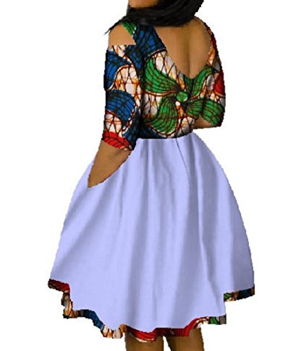 Size Mini Coolred Swing Party Fashion Batik Graphic Dress Plus Dashiki Seven Women EYqa4