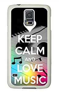 Keep Calm Love Music PC White Hard Case Cover Skin For Samsung Galaxy S5 I9600
