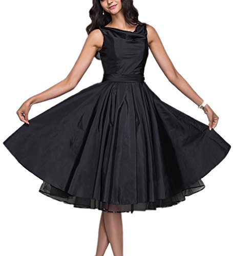 (Women's Little Black 50s 60s 80s Vintage Prom Dress Evening Cocktail Gown Sleeveless Size 12)