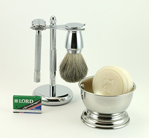 5 Piece Shaving Set - Long Handle DE Razor, Razor & Brush Stand, Badger Brush, Shaving Bowl with GBS Soap + 5 DE Blades! by GBS