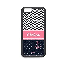 Custom Iphone 6s Heavyduty Tough Case by Froolu Silicon Rubber case,Personalized Lovely Pink Blue Anchor Chevron Pattern Iphone 6 case PROTECTION Rubber Cover