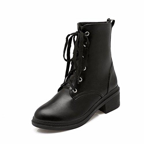 El otoño y el invierno la mujer tie UPS, Martin botas, cilindro corto botas casuales de estudiantes black
