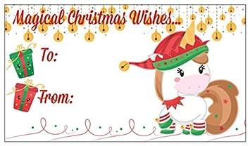 Christmas Gift Tag.Amazon Com Unicorn Christmas Gift Tags With Matching