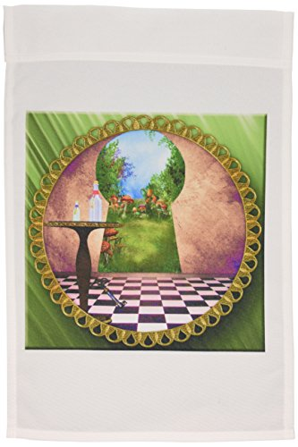 3dRose fl_128860_1 Through The Keyholes Alice in Wonderland Art Checkered Floor Bottle of Magic Water Garden Flag, 12 by 18-Inch ()